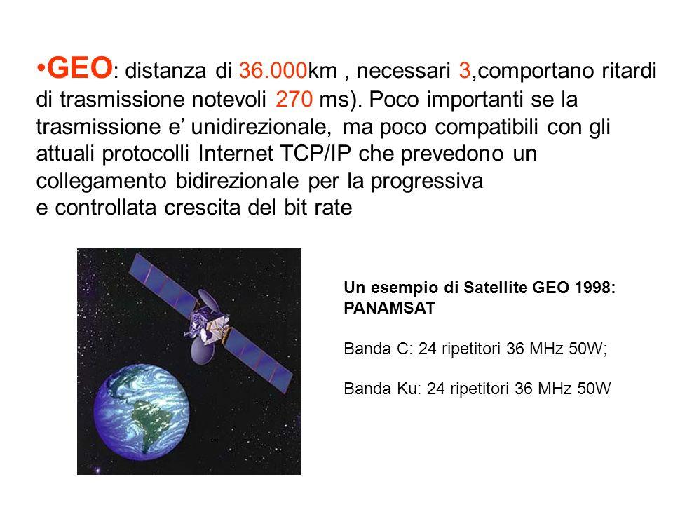 GEO: distanza di 36.000km , necessari 3,comportano ritardi di trasmissione notevoli 270 ms). Poco importanti se la trasmissione e' unidirezionale, ma poco compatibili con gli attuali protocolli Internet TCP/IP che prevedono un collegamento bidirezionale per la progressiva