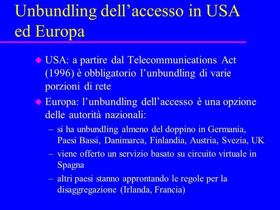 Unbundling dell'accesso in USA ed Europa