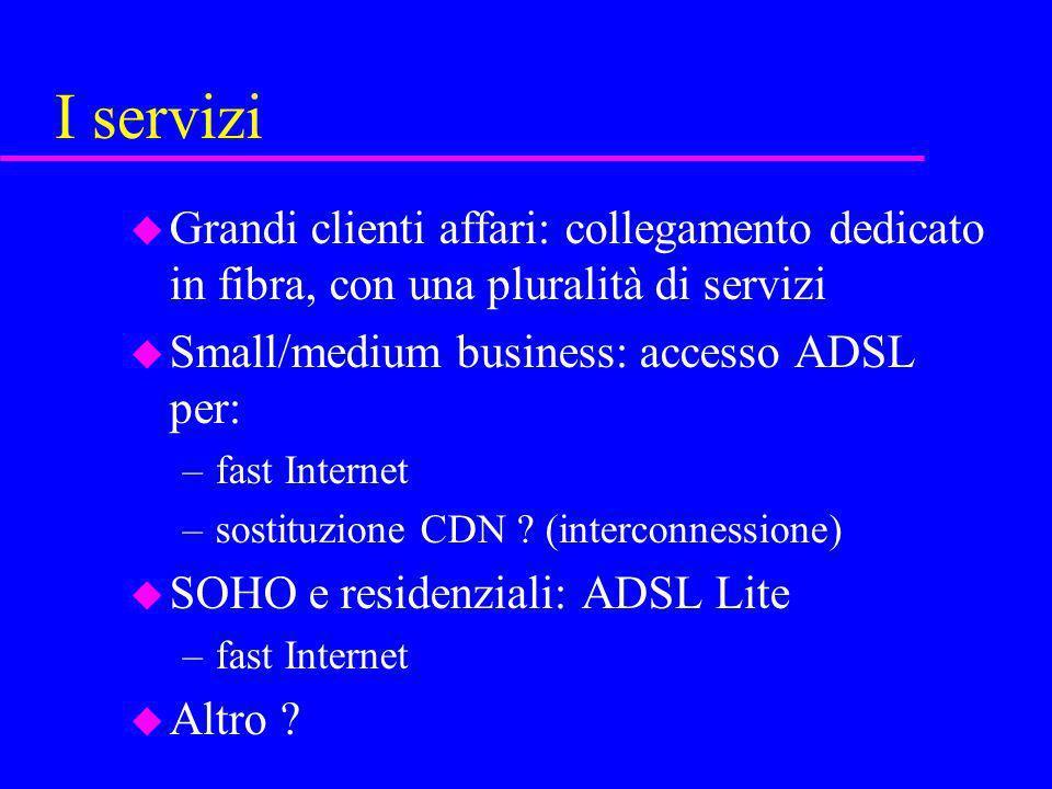 I servizi Grandi clienti affari: collegamento dedicato in fibra, con una pluralità di servizi. Small/medium business: accesso ADSL per: