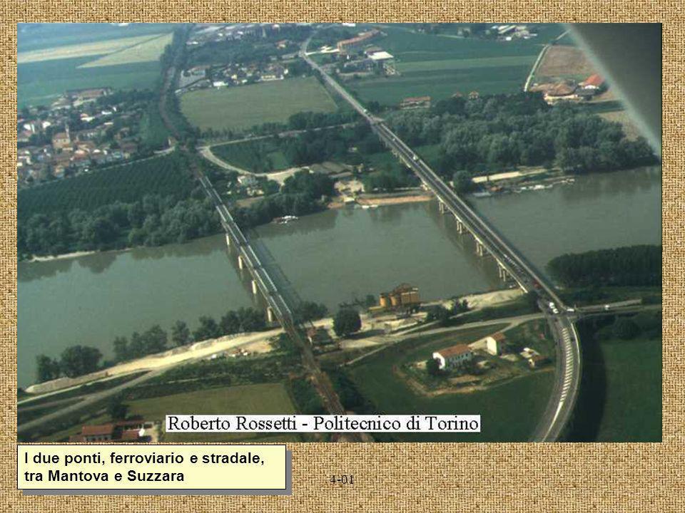 I due ponti, ferroviario e stradale, tra Mantova e Suzzara