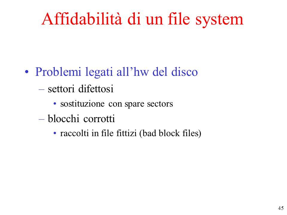 Affidabilità di un file system