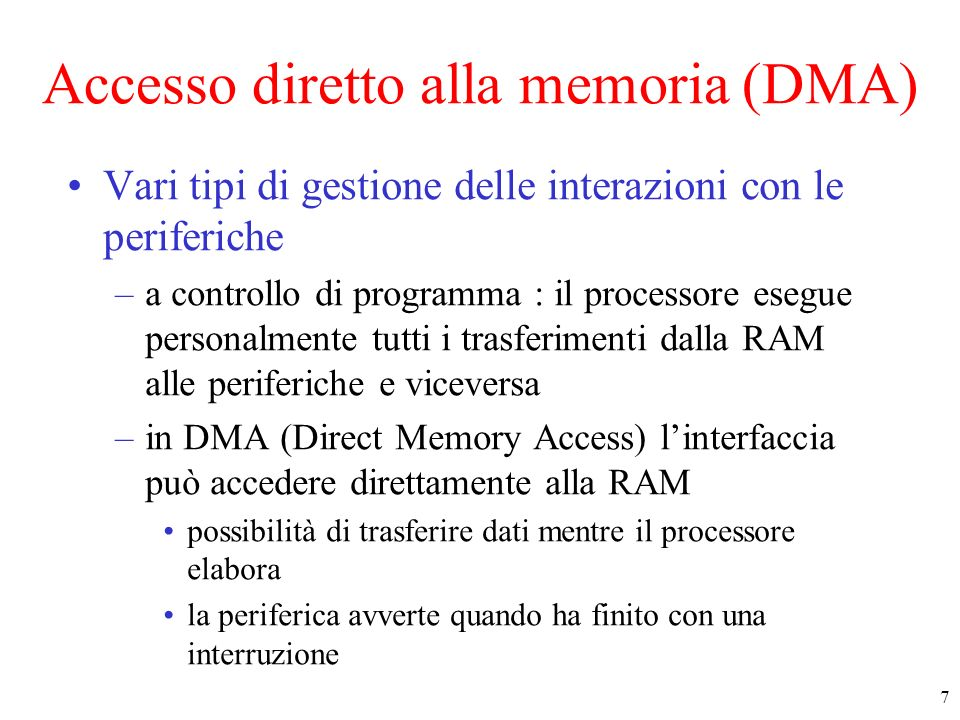 Accesso diretto alla memoria (DMA)