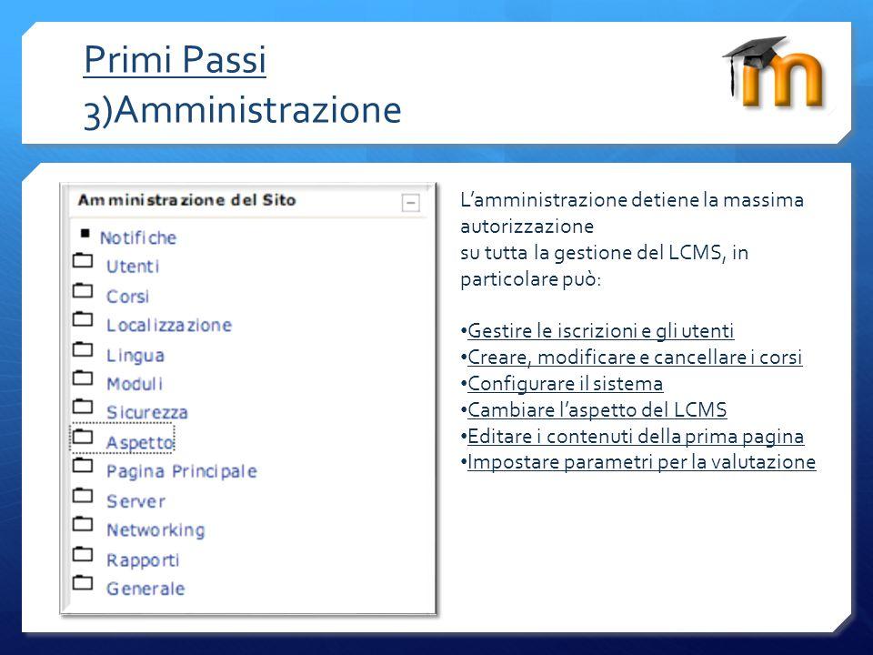 Primi Passi 3)Amministrazione