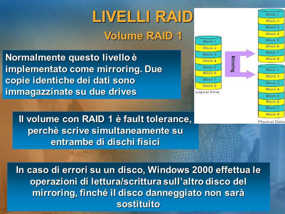 LIVELLI RAID Volume RAID 1