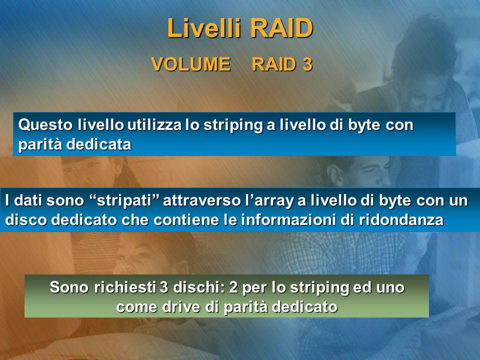 Livelli RAID VOLUME RAID 3