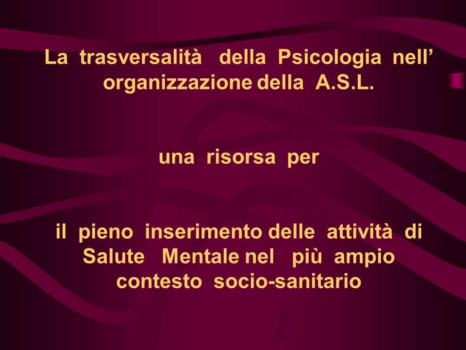 La trasversalità della Psicologia nell' organizzazione della A. S. L
