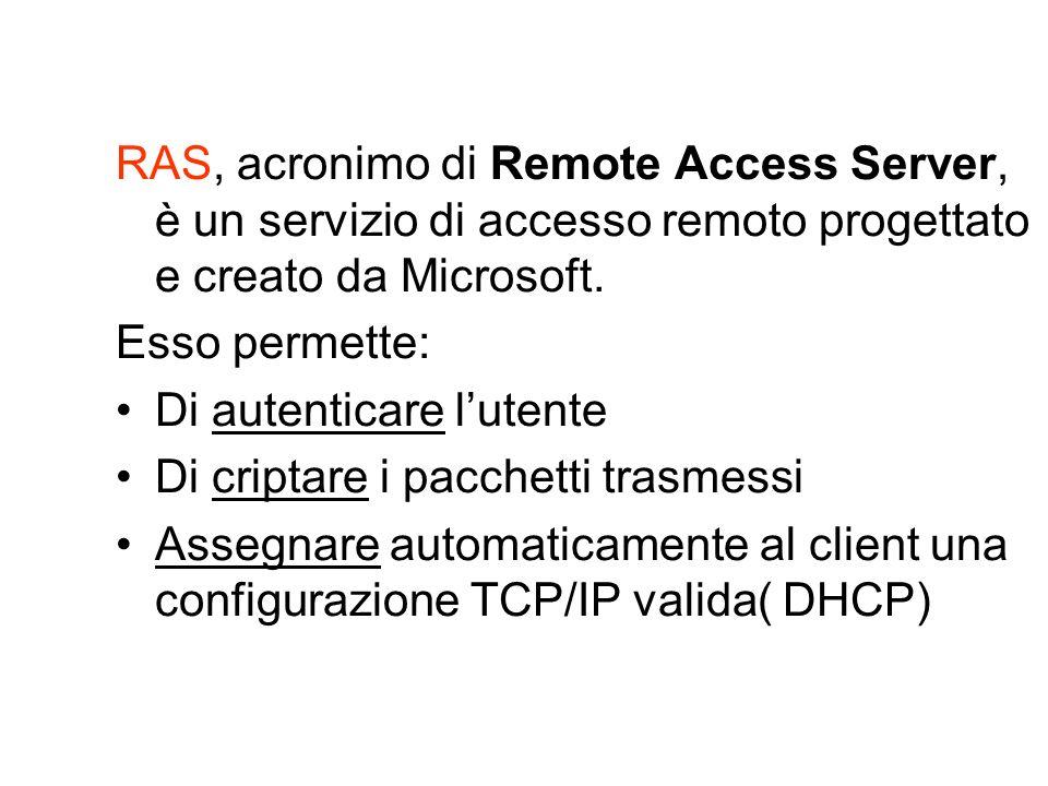 RAS, acronimo di Remote Access Server, è un servizio di accesso remoto progettato e creato da Microsoft.