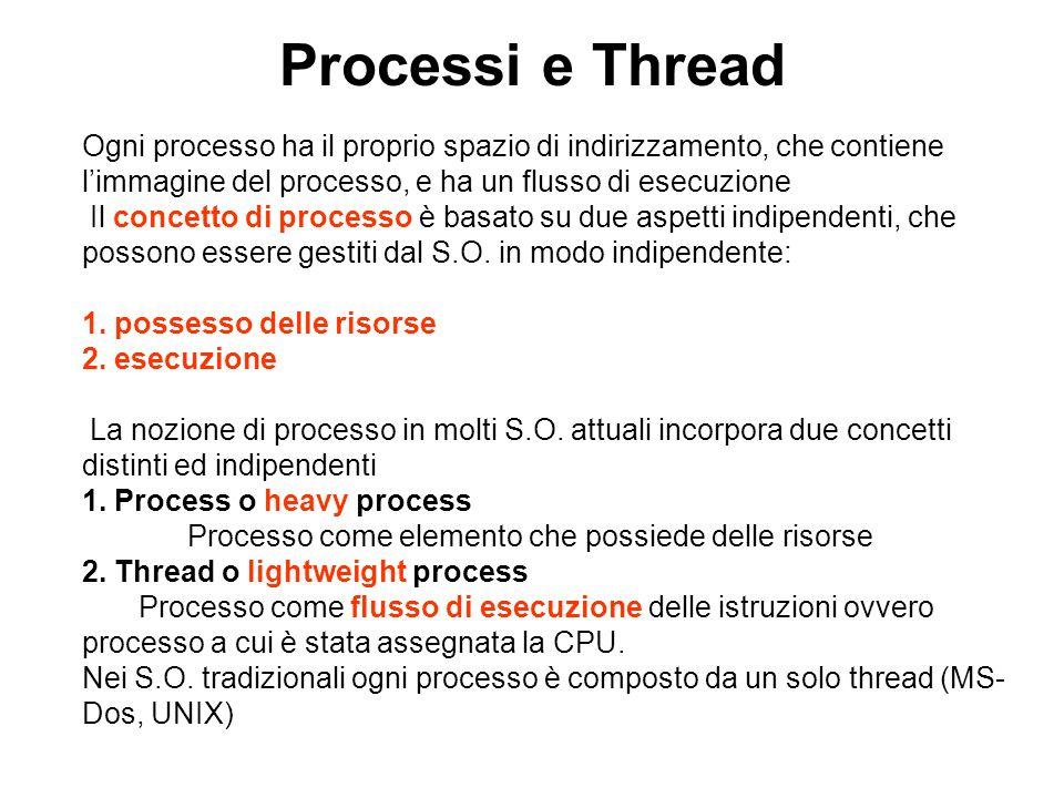 Processi e Thread Ogni processo ha il proprio spazio di indirizzamento, che contiene. l'immagine del processo, e ha un flusso di esecuzione.