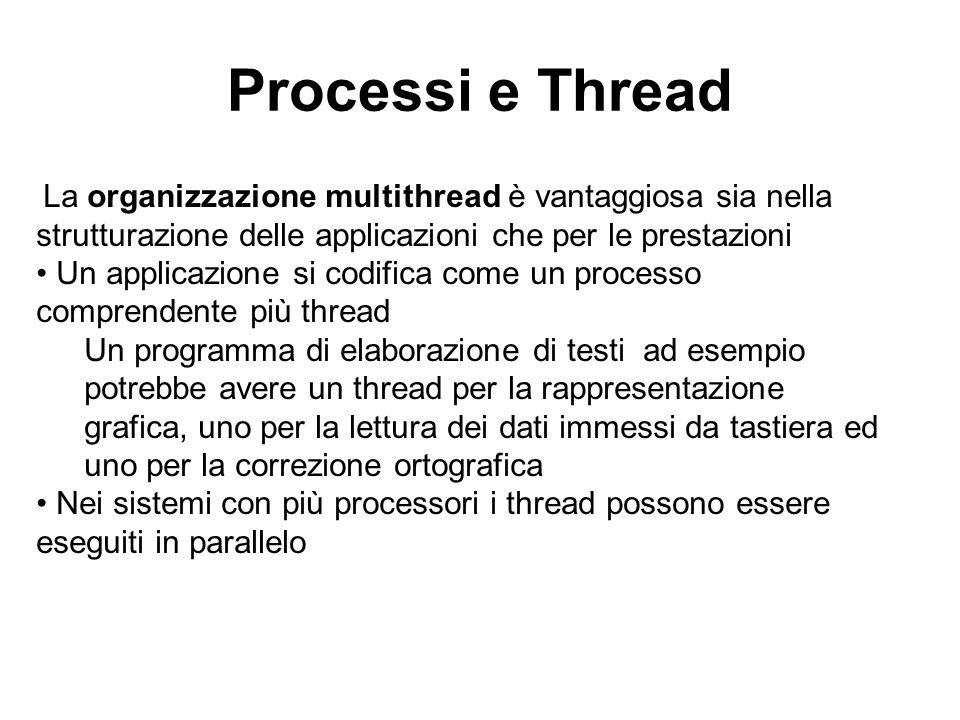 Processi e Thread La organizzazione multithread è vantaggiosa sia nella strutturazione delle applicazioni che per le prestazioni.
