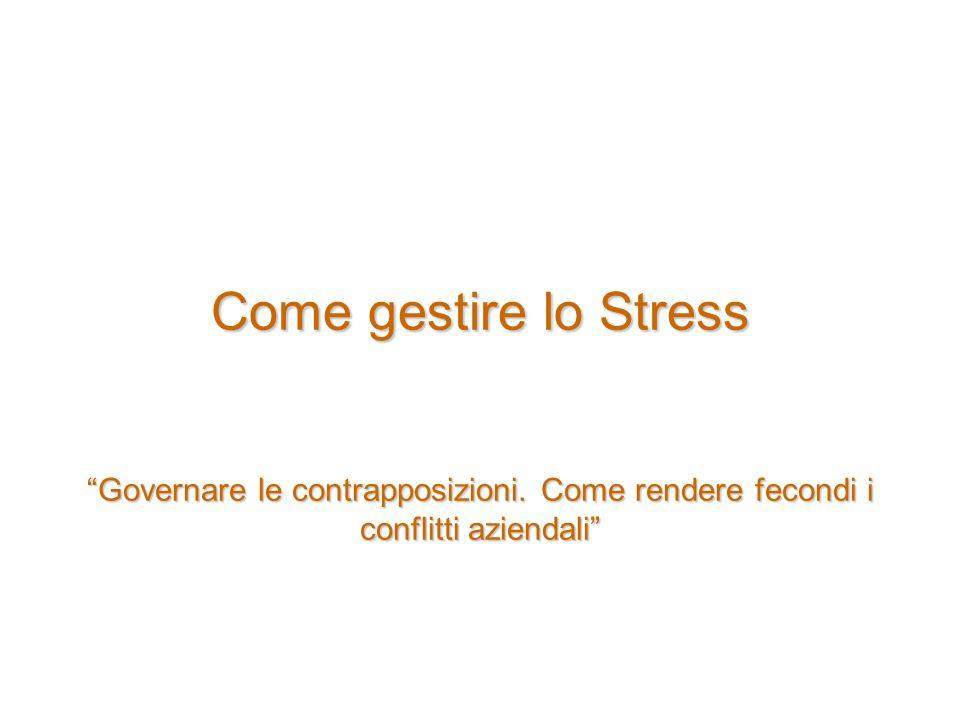 Come gestire lo Stress Governare le contrapposizioni