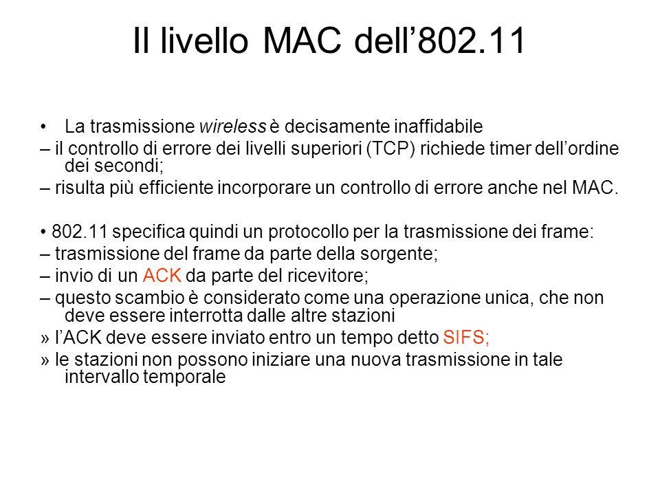 Il livello MAC dell'802.11 La trasmissione wireless è decisamente inaffidabile.