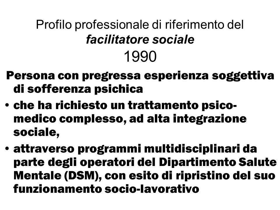 Profilo professionale di riferimento del facilitatore sociale 1990