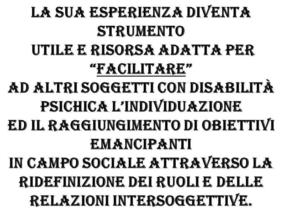 La sua esperienza diventa strumento utile e risorsa adatta per facilitare ad altri soggetti con disabilità psichica l'individuazione ed il raggiungimento di obiettivi emancipanti in campo sociale attraverso la ridefinizione dei ruoli e delle relazioni intersoggettive.