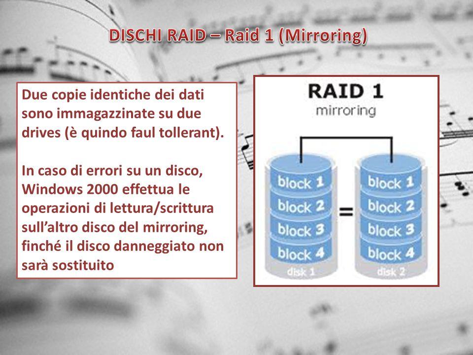 DISCHI RAID – Raid 1 (Mirroring)