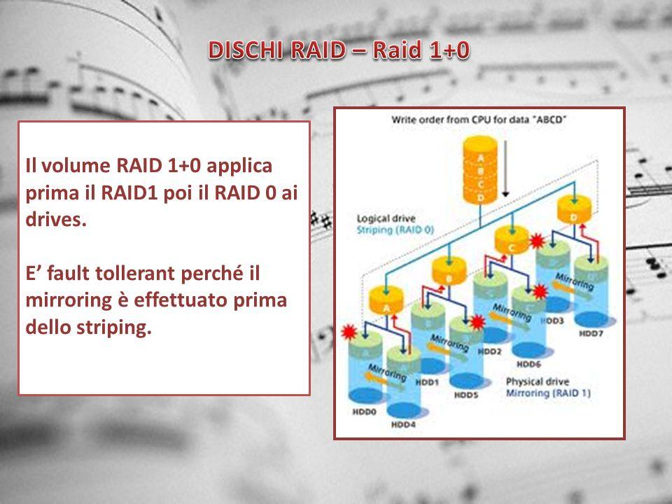 DISCHI RAID – Raid 1+0 Il volume RAID 1+0 applica prima il RAID1 poi il RAID 0 ai drives.