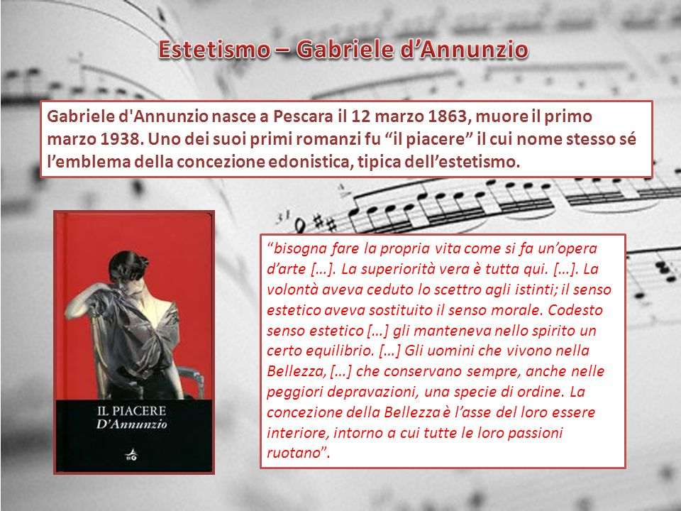Estetismo – Gabriele d'Annunzio