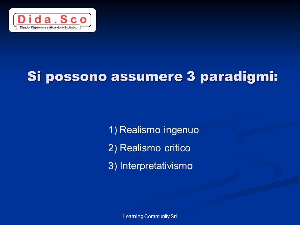 Si possono assumere 3 paradigmi:
