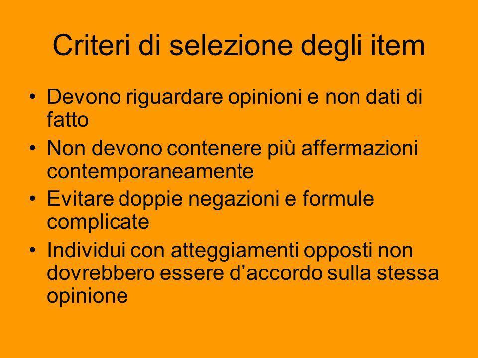 Criteri di selezione degli item