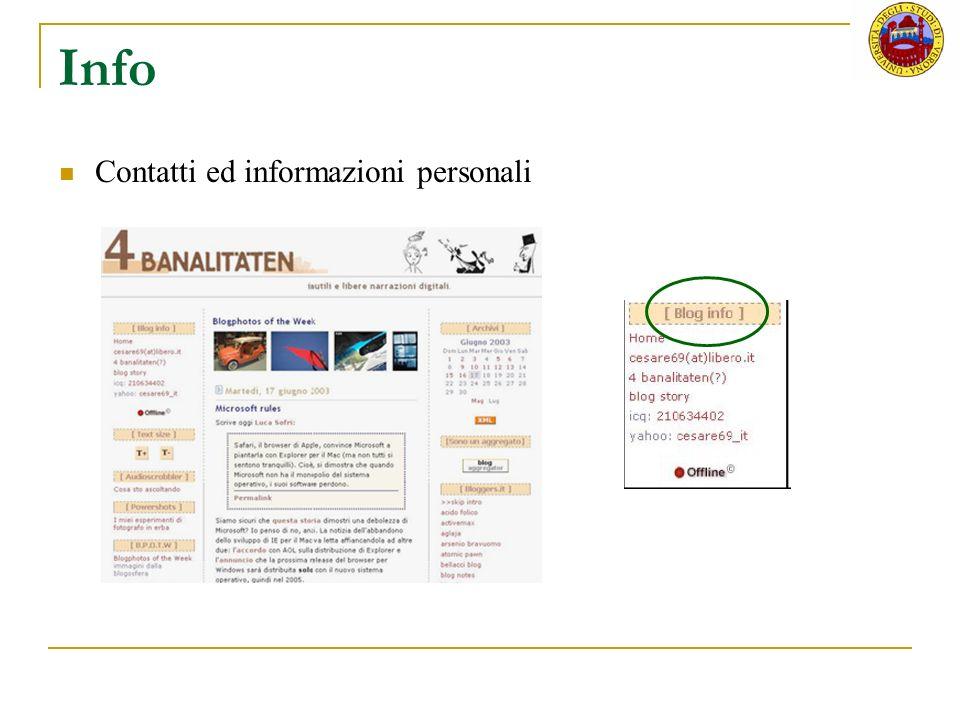 Info Contatti ed informazioni personali