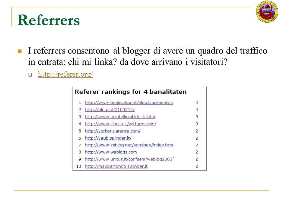 Referrers I referrers consentono al blogger di avere un quadro del traffico in entrata: chi mi linka da dove arrivano i visitatori