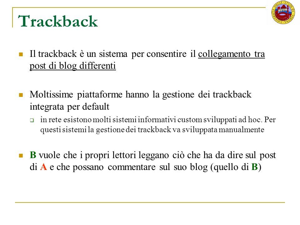 Trackback Il trackback è un sistema per consentire il collegamento tra post di blog differenti.