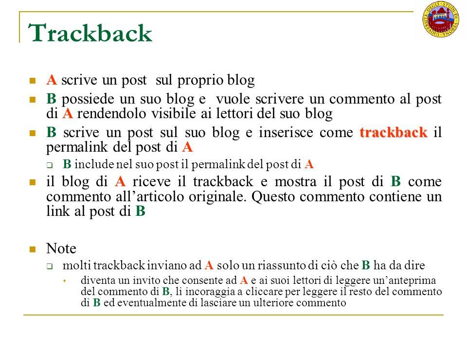 Trackback A scrive un post sul proprio blog