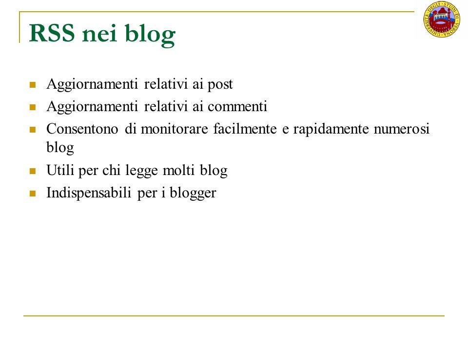 RSS nei blog Aggiornamenti relativi ai post
