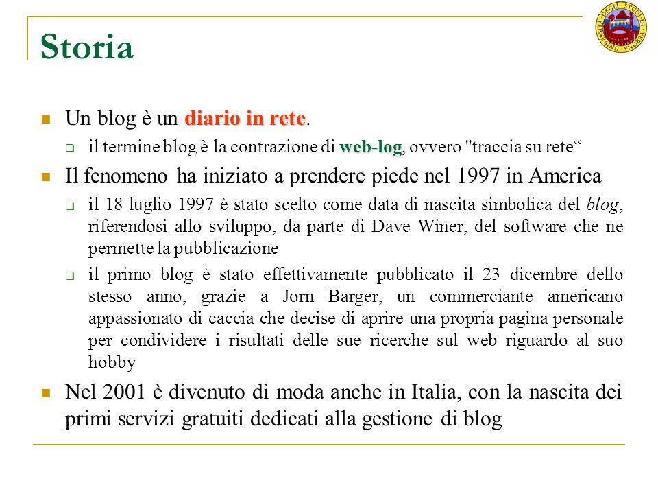 Storia Un blog è un diario in rete.