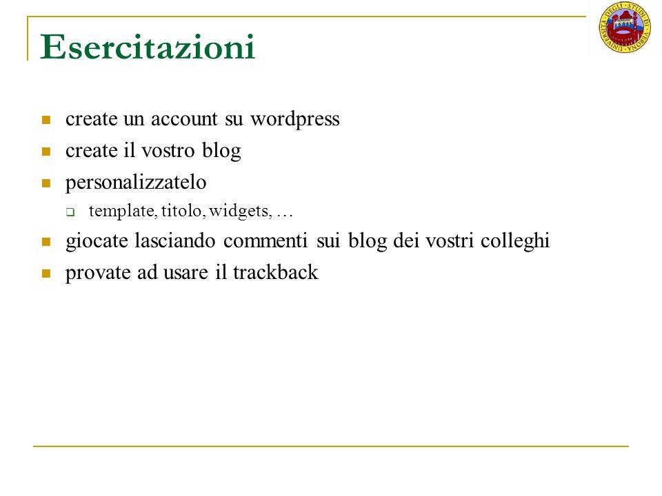 Esercitazioni create un account su wordpress create il vostro blog