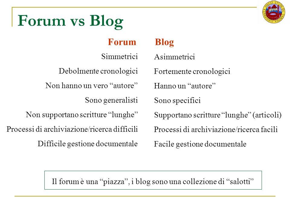 Forum vs Blog Forum Blog Simmetrici Asimmetrici Debolmente cronologici