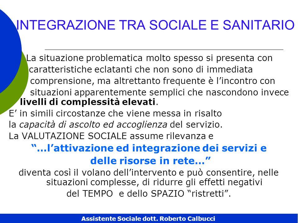 INTEGRAZIONE TRA SOCIALE E SANITARIO