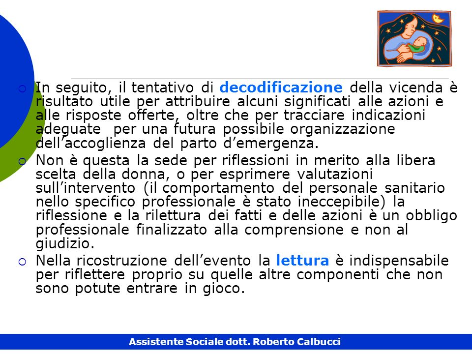 Assistente Sociale dott. Roberto Calbucci