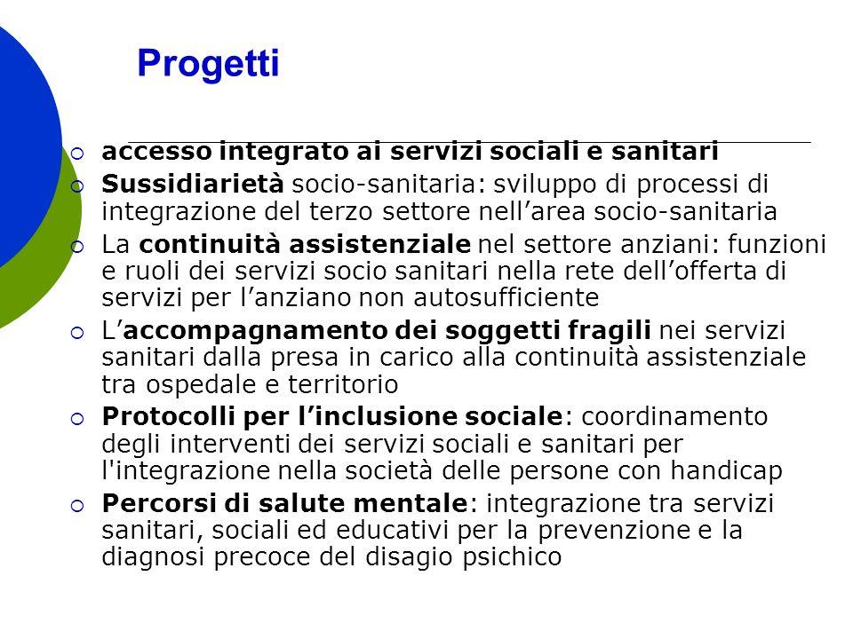 Progetti accesso integrato ai servizi sociali e sanitari