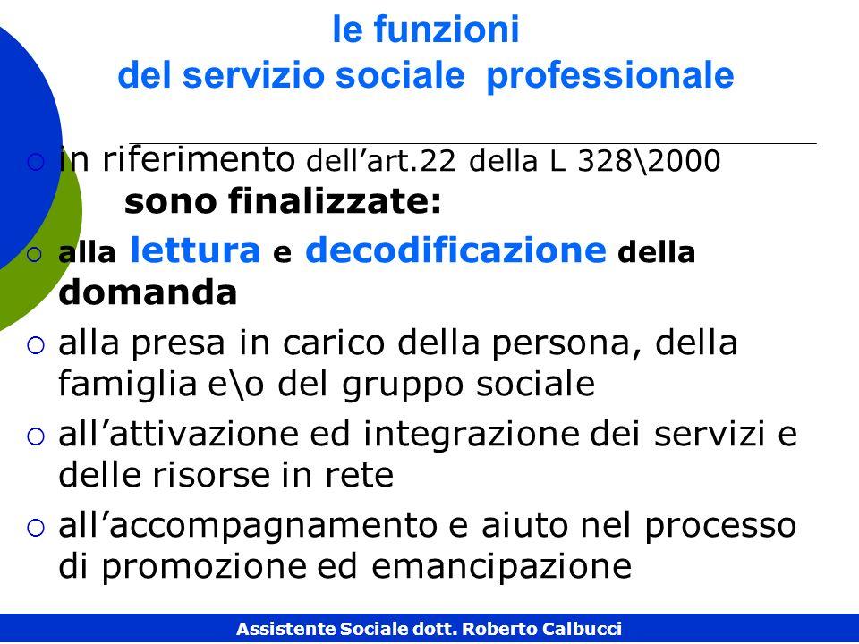 le funzioni del servizio sociale professionale