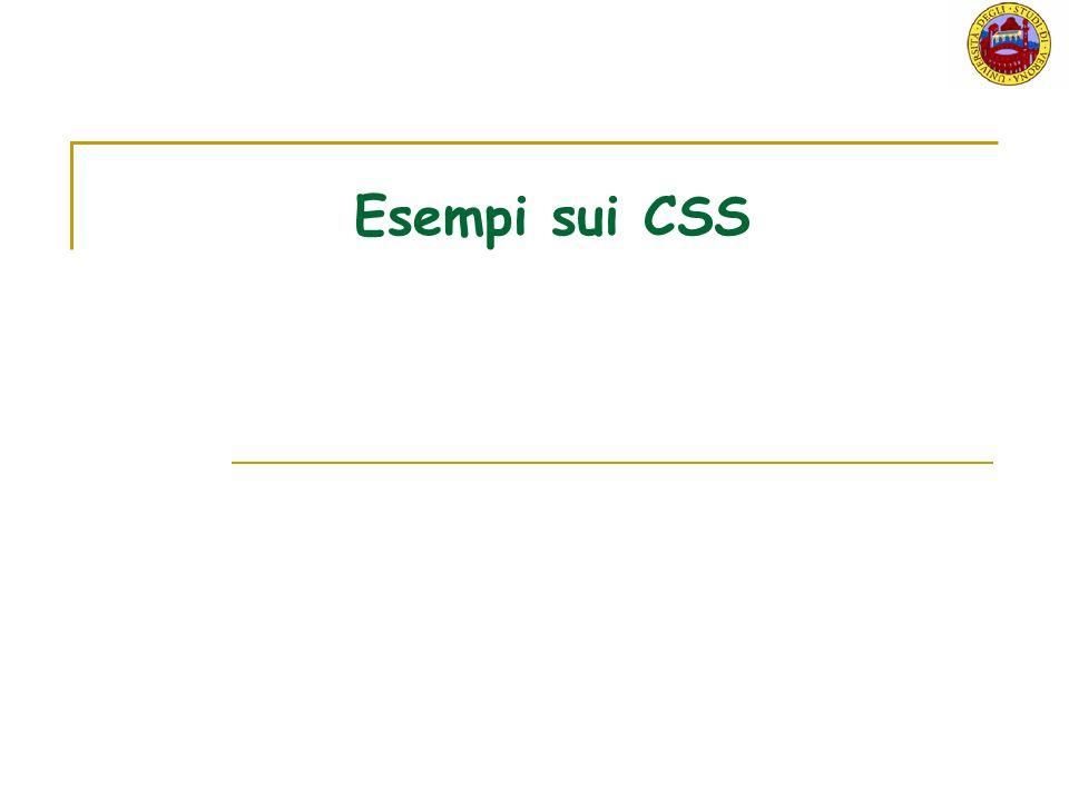 Esempi sui CSS