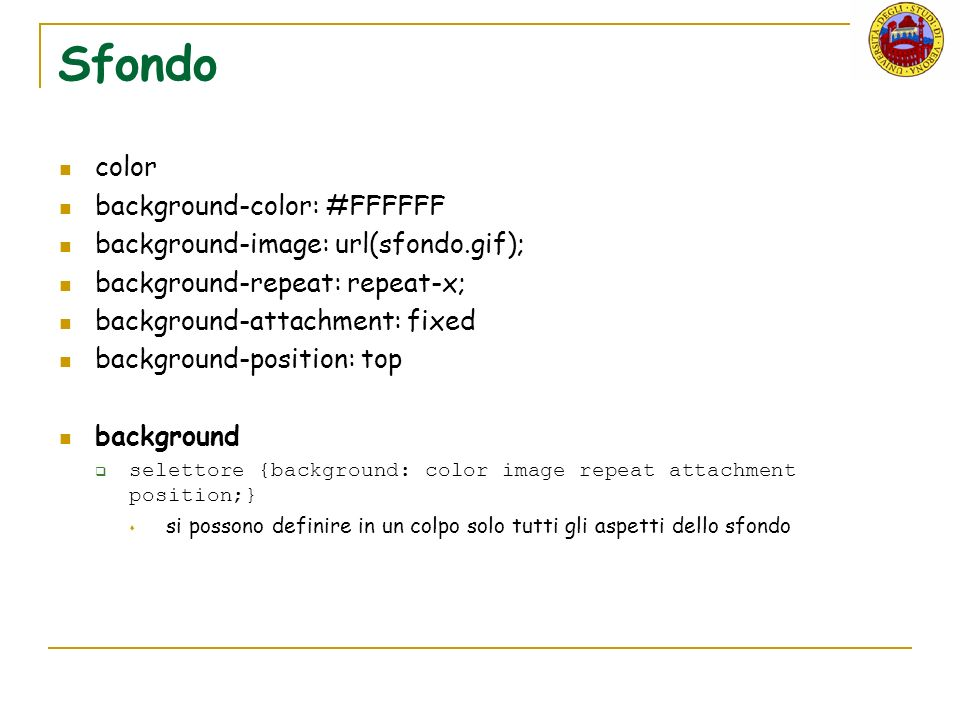 Sfondo color background-color: #FFFFFF