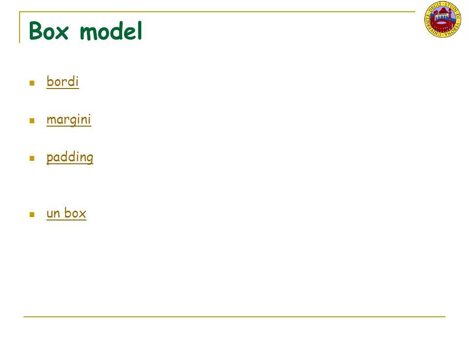 Box model bordi margini padding un box