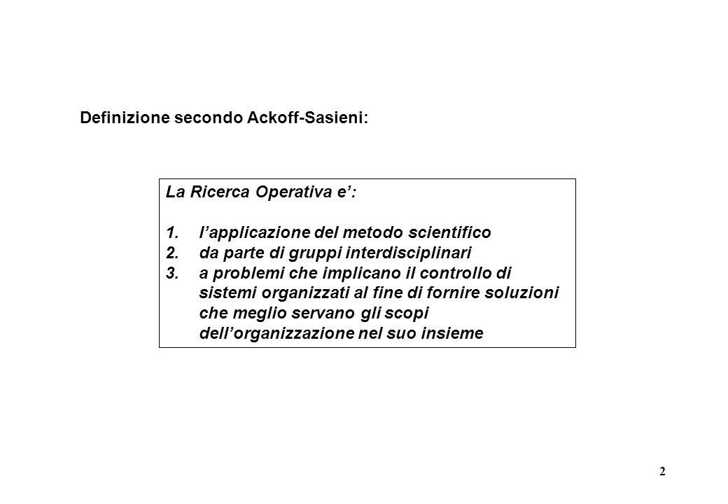 Definizione secondo Ackoff-Sasieni: