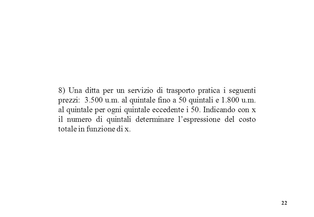 8) Una ditta per un servizio di trasporto pratica i seguenti prezzi: 3