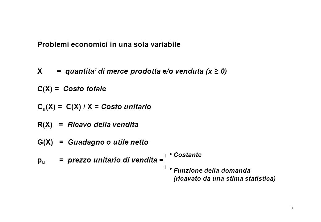 Problemi economici in una sola variabile