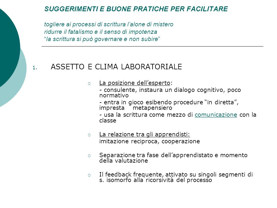 ASSETTO E CLIMA LABORATORIALE