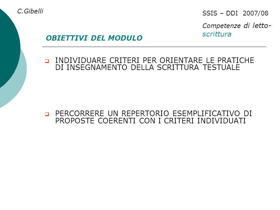 C.Gibelli SSIS – DDI 2007/08. Competenze di letto- scrittura. OBIETTIVI DEL MODULO.
