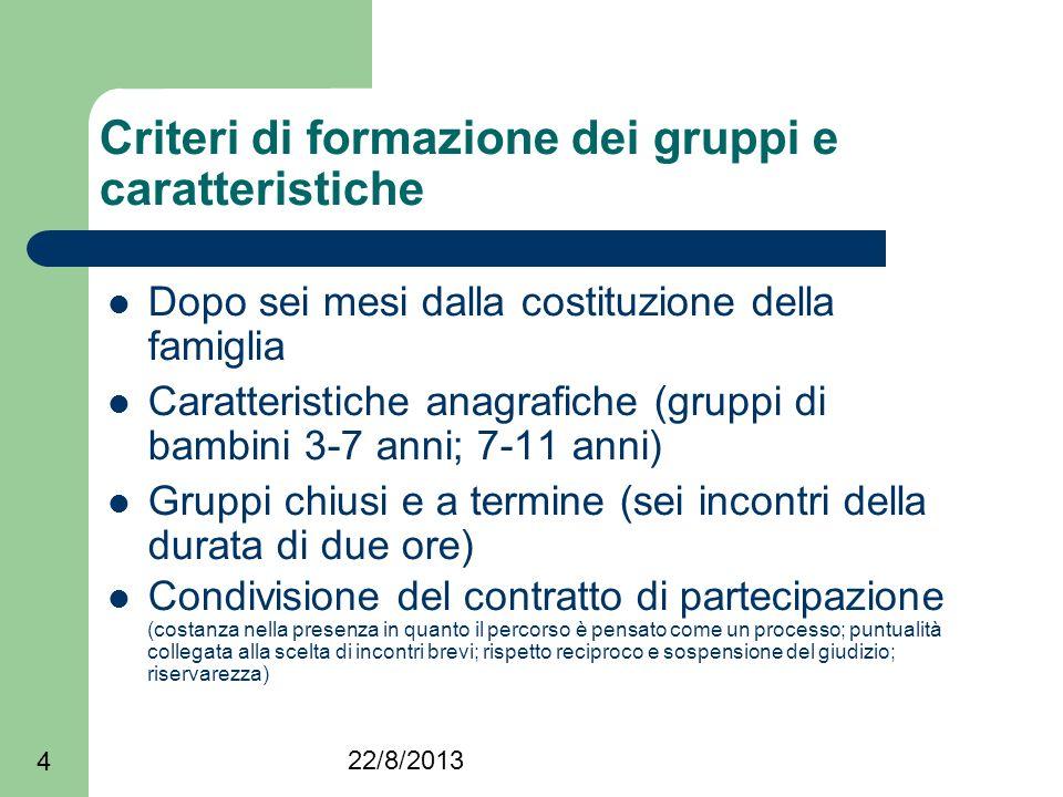 Criteri di formazione dei gruppi e caratteristiche