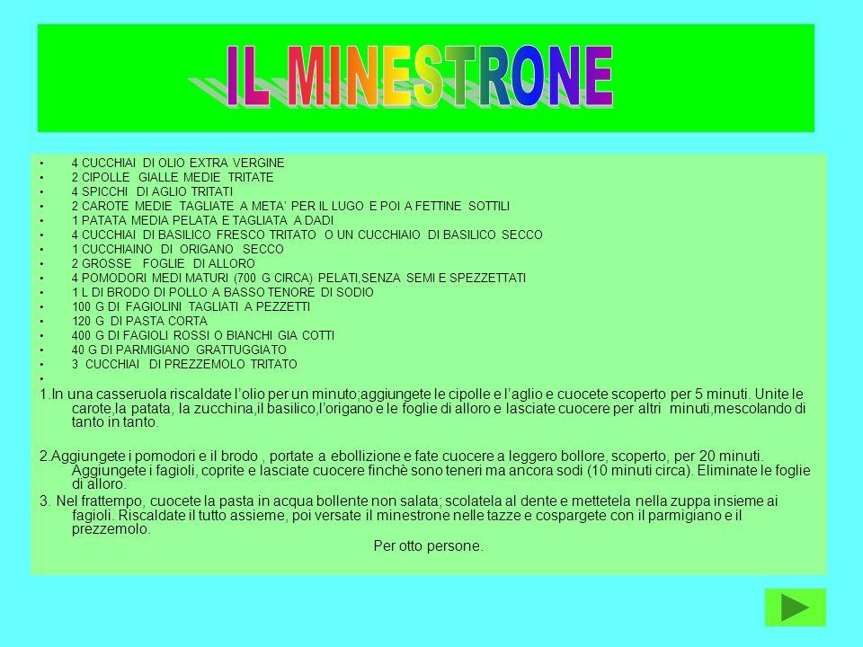 IL MINESTRONE 4 CUCCHIAI DI OLIO EXTRA VERGINE. 2 CIPOLLE GIALLE MEDIE TRITATE. 4 SPICCHI DI AGLIO TRITATI.