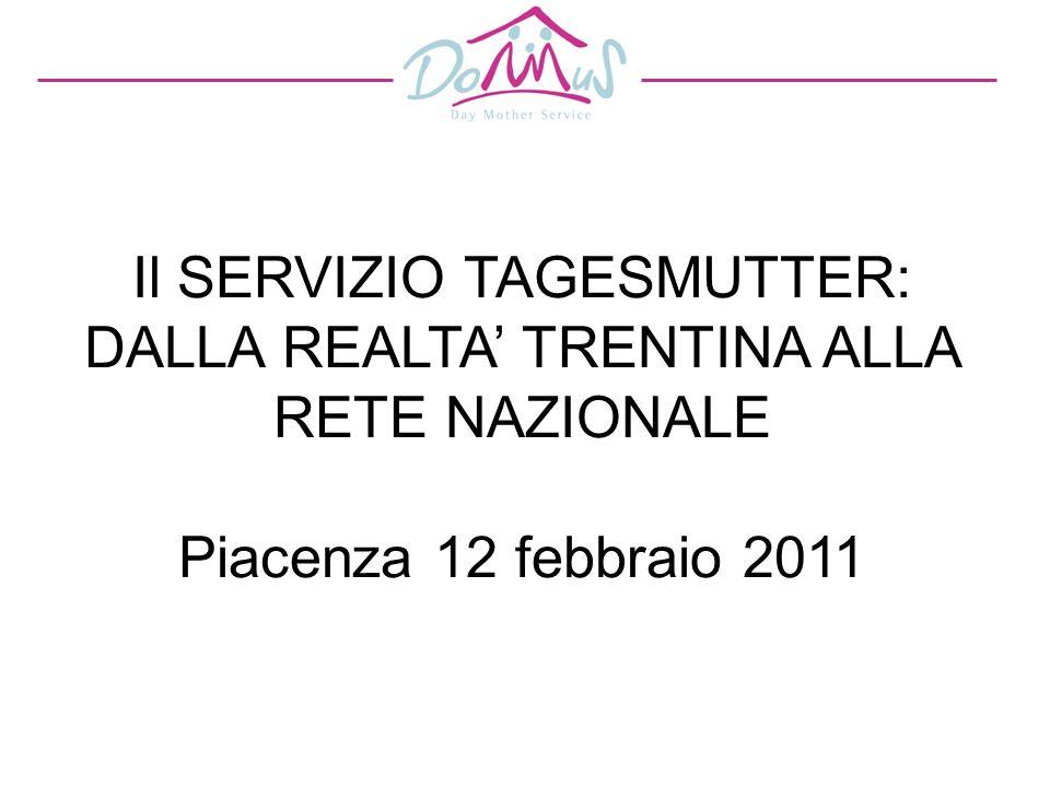 Il SERVIZIO TAGESMUTTER: DALLA REALTA' TRENTINA ALLA RETE NAZIONALE Piacenza 12 febbraio 2011