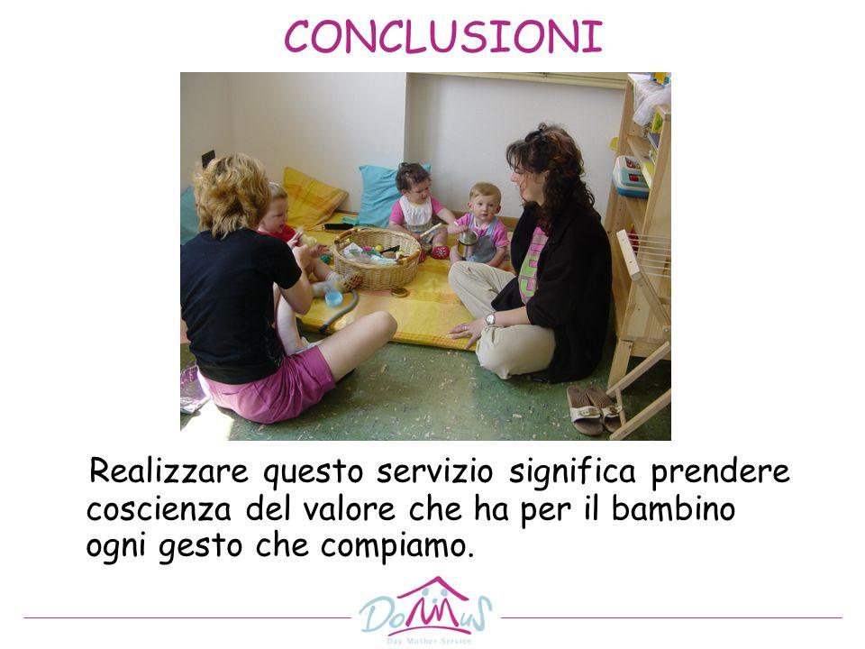 CONCLUSIONI Realizzare questo servizio significa prendere coscienza del valore che ha per il bambino ogni gesto che compiamo.