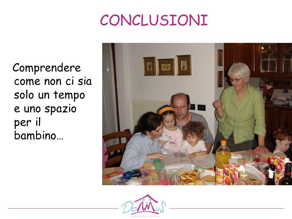 CONCLUSIONI Comprendere come non ci sia solo un tempo e uno spazio per il bambino…