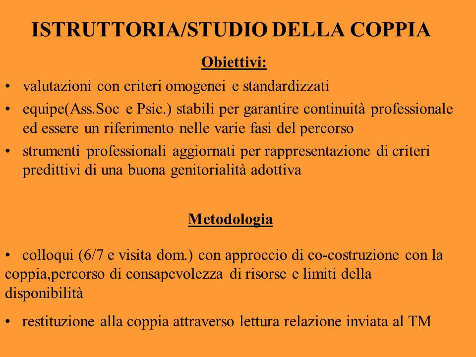 ISTRUTTORIA/STUDIO DELLA COPPIA