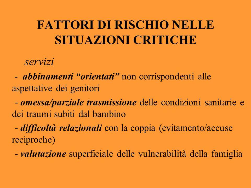 FATTORI DI RISCHIO NELLE SITUAZIONI CRITICHE