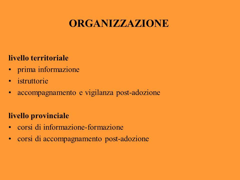 ORGANIZZAZIONE livello territoriale prima informazione istruttorie